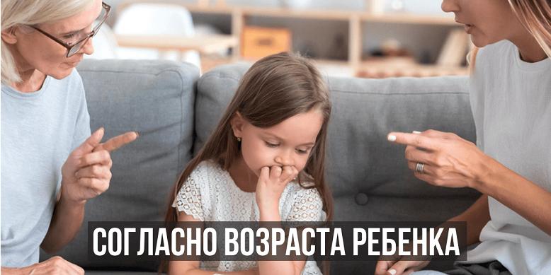 Наказание согласно возраста ребенка
